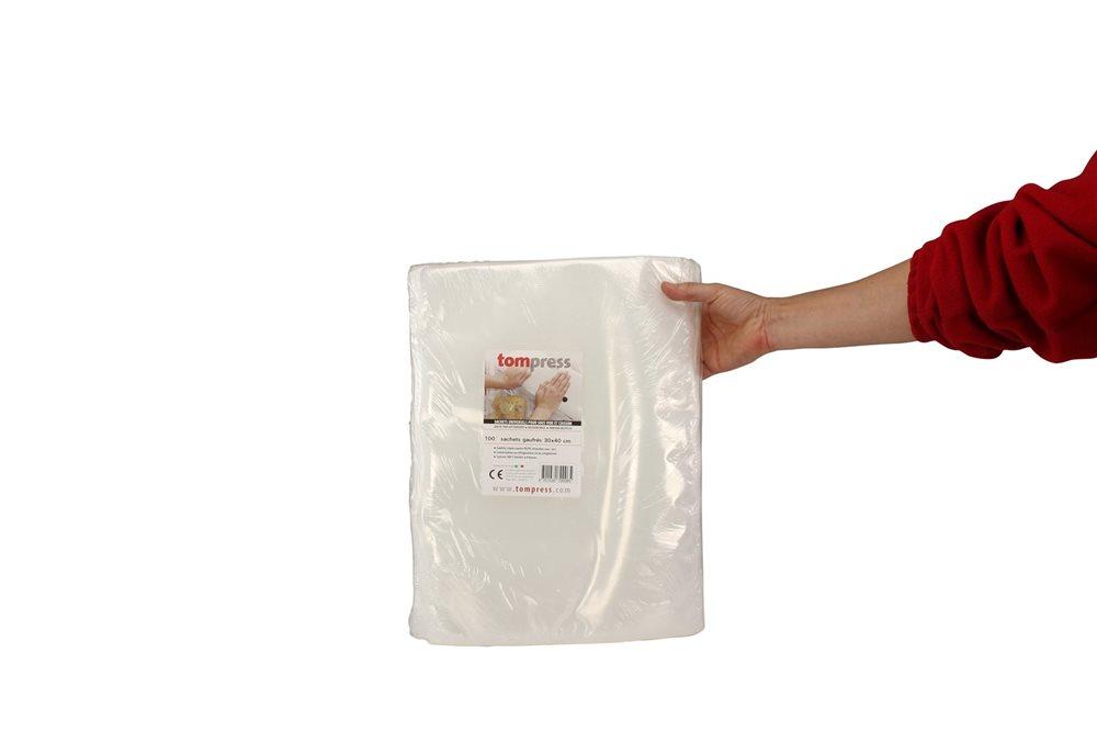 sacs sous vide alimentaires gaufr s tom press 30x40 cm par 100 tom press. Black Bedroom Furniture Sets. Home Design Ideas