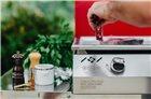 Plancha gaz 9 kW plaque inox 78x45 habillage inox anti-trace capot rouge