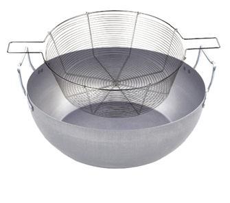 Bassine à friture en acier 30 cm avec panier en acier étamé