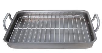 Plat à rôtir pour four et tous feux rectangulaire 42 cm en acier avec grille