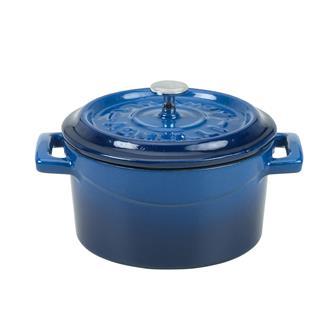 Petite cocotte 14 cm bleu en fonte