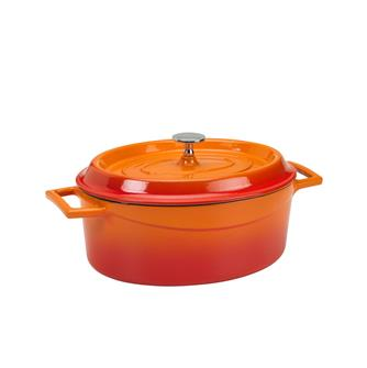 Cocotte ovale en fonte 25x20 orange