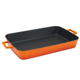 Plat à four 26x40 orange en fonte