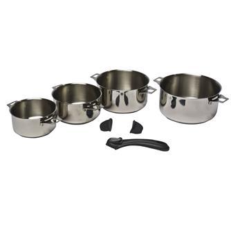 4 casseroles inox avec queue et poignées amovibles