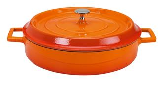 Cocotte ronde basse 28 cm orange