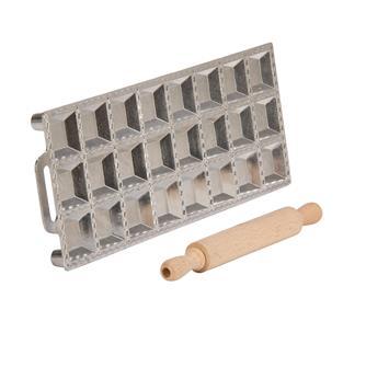 Moule 24 raviolis carrés avec rouleau