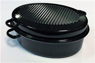 Roaster cocotte ovale petit modèle 34 cm en acier carbone emaillé