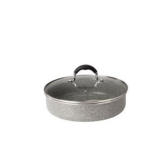 Sauteuse 24 cm aluminium revêtement pierre avec couvercle