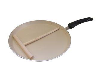 Crêpière 26 cm induction antiadhésive avec râteau à crêpes
