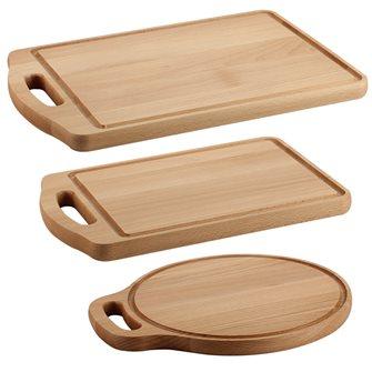 Lot de 3 planches de cuisine en bois de hêtre avec poignée