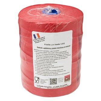 Rouleau 1kg de ficelle pour charcuterie lin lisse rouge