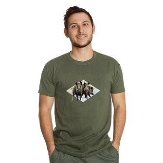 Tee shirt homme Bartavel Nature kaki sérigraphie 3 sangliers 3XL