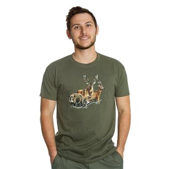 Tee shirt Bartavel Nature kaki sérigraphie 1 sanglier 1 cerf et 1 chevreuil M