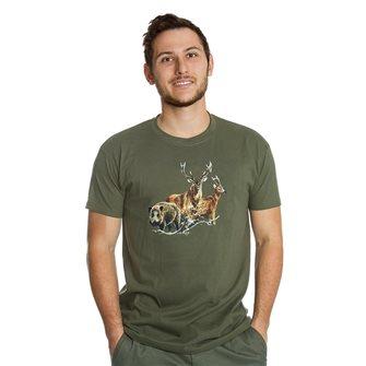 Tee shirt Bartavel Nature kaki sérigraphie 1 sanglier 1 cerf et 1 chevreuil XL