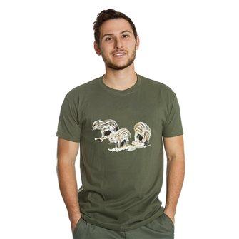 Tee shirt homme Bartavel Nature kaki sérigraphie trio de marcassins XL