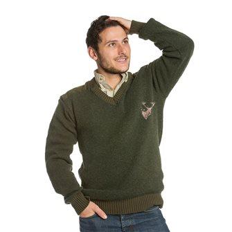 Pull homme col V Bartavel P61 kaki XL broderie tête de cerf