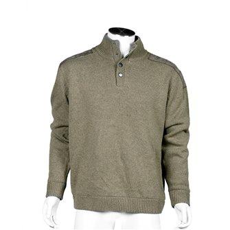 Pull homme P53 kaki chiné L doublé jersey effet coupe-vent