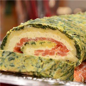Roulé au saumon fumé, épinards et fromage ail & fines herbes