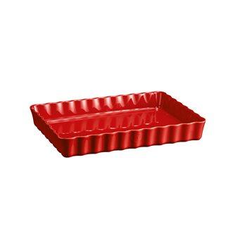 Plat à tarte rectangulaire Emile Henry en céramique rouge Grand Cru