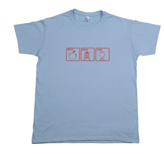 T-shirt Apple Press Cider Tom Press XXL bleu ciel sérigraphie rouge