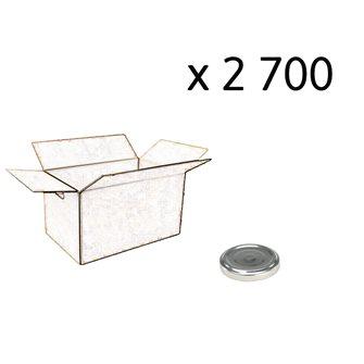 Carton de 2700 capsules couleur argent de 48 mm
