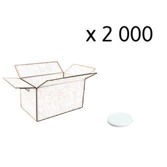 Capsules twist-off blanches de 53 mm de diamètre par carton de 2 000