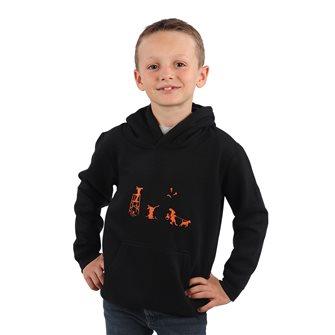 Sweat à capuche garçon noir 6 ans humoristique lièvres chassants Bartavel