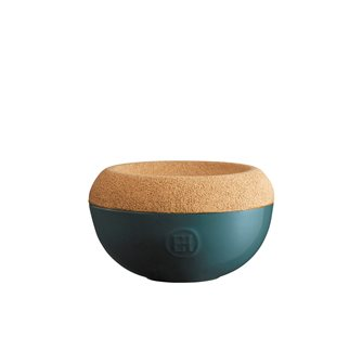 Pot à sel en céramique bleu Feu Doux Emile Henry couvercle liège