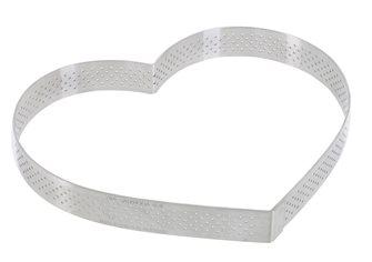 Cercle forme cœur inox 18 cm perforé  bord droit quatre parts