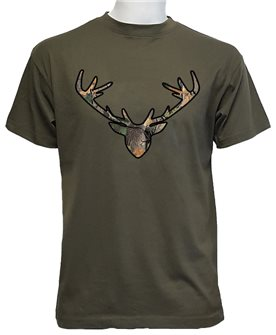 Tee shirt tête de cerf kaki XXL de Bartavel