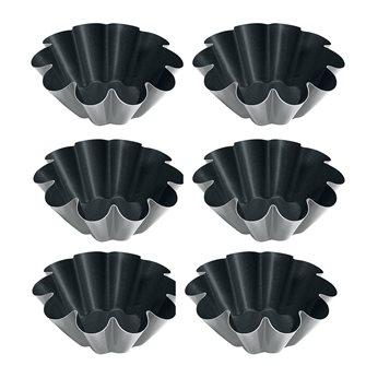 Petit moule à briochettes de 8 cm en acier antiadhérent Obsidian lot de 6