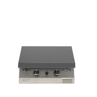 Plancha gaz 6 kW plaque inox 55x45 habillage inox anti-trace capot gris anthracite