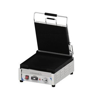 Gril contact panini 2,4 kW grandes plaques rainurées 36x36 cm avec minuteur et récupérateur à graisse